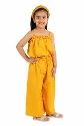 Cotton Kids Yellow Party Wear Dress