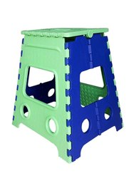 18 Inch Green & Blue Plastic Folding Stool