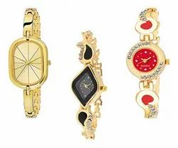 RPS Fashion Golden Ladies Analog Diamond Combo Watches, For Daily