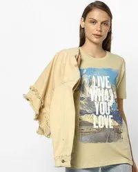 Half Sleeve Round Ladies T Shirt, 160 To 180