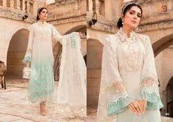 Shraddha Maria B Siffli Collection Cambric Cotton Pakistani Suits Wholesale Catalog