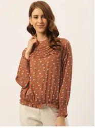 Women Brown Printed Blouson Top
