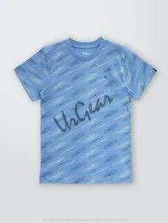 AKR Industries Lycra Cotton Printed Blue Line Kids T-Shirt, Size: 5-9 Years