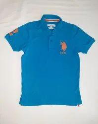 Collar Neck Half Sleeve Men Blue Plain T Shirt