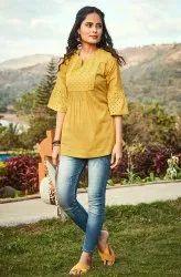 Janasya Women's Mustard Cotton Top(J0098)