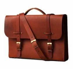 Brown Leather Laptop Messenger Bag, Size: 125x3x10 Inch