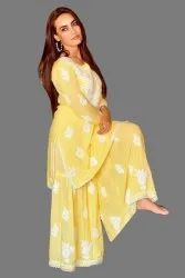 Full Sleeves Yellow Ladies Embroidery Modal Sharara Suit, Size: 42