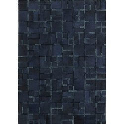 Handcrafted Rectangular Handmade Leather Tufted Blue Box Rug