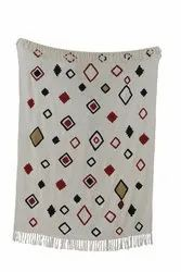 Hand Embroidered Throw Blanket With Tassels Cotton Sofa Throw Handloom Bed Runner