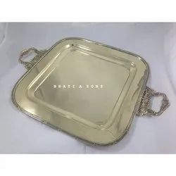 Ansh Metal Brass Serving Trays, Shape: Circular, Size: 14