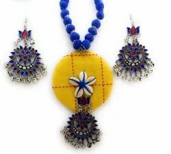 Yellow And Blue Fabric Jewellery Set