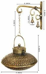 Painting Golden Handi T Light With Stand And Bell Wall Art, For Decoration, Size/dimension: 9x9x5.5 Inch