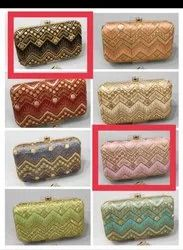 Party Wear Multicolor Embroidered Ladies Clutch Box, Size: 7*4 Inch