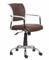 Mid Back Leatherette Office Chair Brown (VJ-2029)