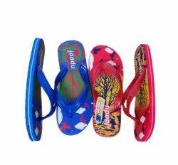 National Blue, Red (Base Color) Jaadu Hawai Slippers, Design/Pattern: Printed, 6-10,4-5