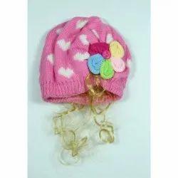 Kids Pink Winter Skull Cap