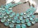 Natural Aqua Chalcedony 11-12mm Heart Shape Plain Smooth Gemstone Beads Strand 8 Inches Long