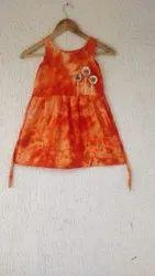 Kids Orange Printed Frock