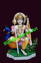 Multicolor Makrana Marble Lord Murugan Statue