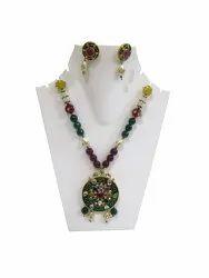 Ethnic Navratan Green Pendant Necklace Set Multi Color Beads Jewellery