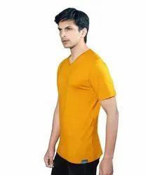 Mens Yellow Cotton T Shirt