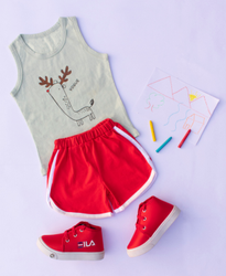 Cotton light green and red Boys Sleeveless T Shirt & shorts set, Size: 1 yr to 5 yr