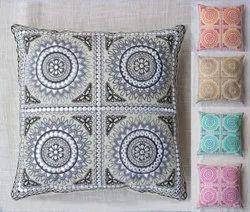 Mirror Work Embroidery Sofa Pillow