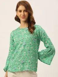 Women Green Viscose Rayon Floral Print Top