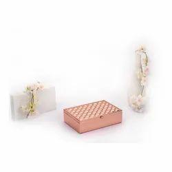 Square Weave Design Rose Gold Box, Size-Medium