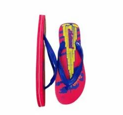 Daily Wear Men Pink Printed Rubber Slipper, Thickness: 12mm, Size: 6