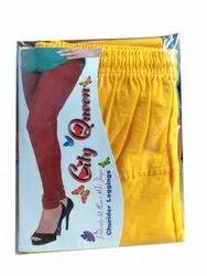 City Queen Churidar Ladies Yellow Lycra Legging