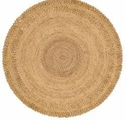 Round Natural Jute Handwoven Rug, Size: 69 Cm