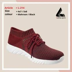 L-214 Women Maroon Black Sports Shoes, For Running