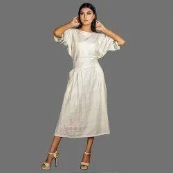 Party Wear Natural Ladies Handloom Bamboo Cotton Blouson Dress, Size: 36