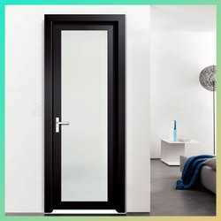 Powder Coated Black Aluminium Door, For Home, Single