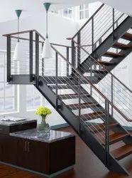 Wood And Mildsteel Mild Steel Readymade Staircase