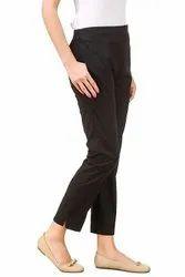 Fabculture Formal Wear Cotton Lycra Black Slim Pants, Size: 30 cm
