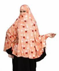 Printed Spun Lycra Women Prayer Hijab Abaya Makhna