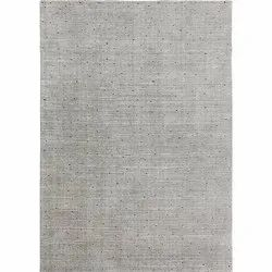 Handloom Silver Multi Stripe Wool and Linen Area Rug and Carpets, Rectangle