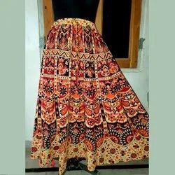 Khushank Fashions Flared Cotton Bagru Print Skirts, Size: Free Size Upto 44