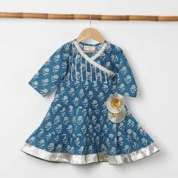 Cotton Printed 3 Tier Dress, 2-14 Years