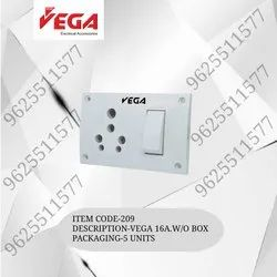 Vega Polycarbonate Modular Switch Socket Combination Without Box, For Electrical Fittings