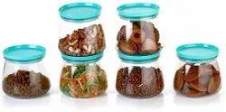 Matuki Transparent Round Kitchen Storage Plastic Matka Shape Containers Set Of 6, Packaging Type: Box, Capacity: 800 Ml