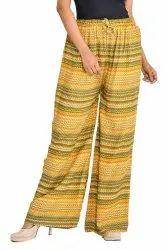 Yellow Rayon Ladies Pyjama, Free Size