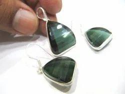 925 Sterling Silver Stamped Pendant Set Green Tourmaline Color Gemstone Pendant
