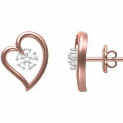 Real Diamonds Heart Shape Designer Earring, 18 Carot