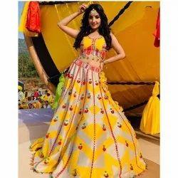 Semi-Stitched Yellow Satin Wedding Function Lehengha Choli, Size: Free Size