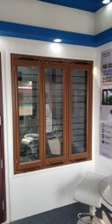 Modern Polished Wood Finish Mild Steel Glass Windows, For Office