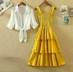 Poly Crepe Solid Urbane Ravishing Women Dresses - Yellow
