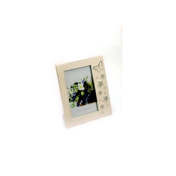White Enamel Butterfly Photo Frame